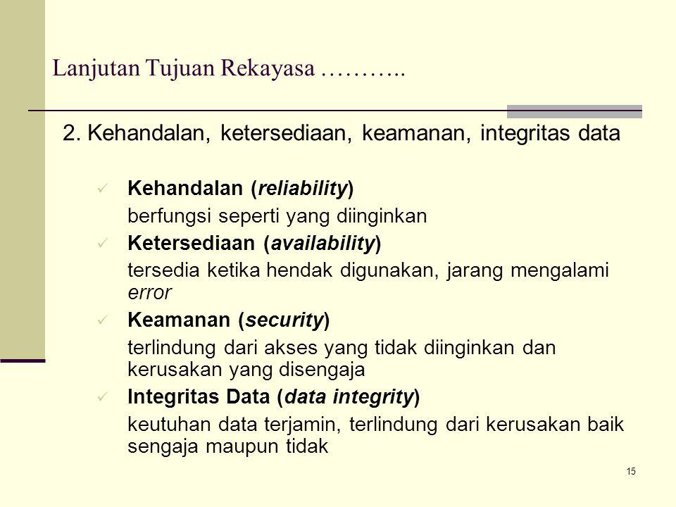 15 Lanjutan Tujuan Rekayasa ……….. 2. Kehandalan, ketersediaan, keamanan, integritas data Kehandalan (reliability) berfungsi seperti yang diinginkan Ke