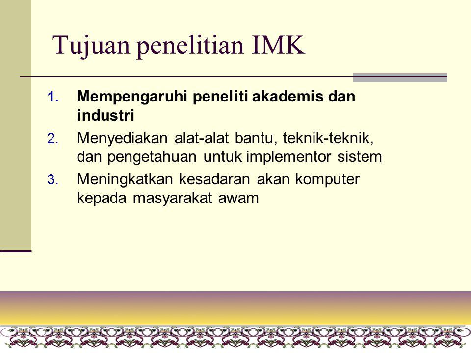 20 Tujuan penelitian IMK 1. Mempengaruhi peneliti akademis dan industri 2. Menyediakan alat-alat bantu, teknik-teknik, dan pengetahuan untuk implement