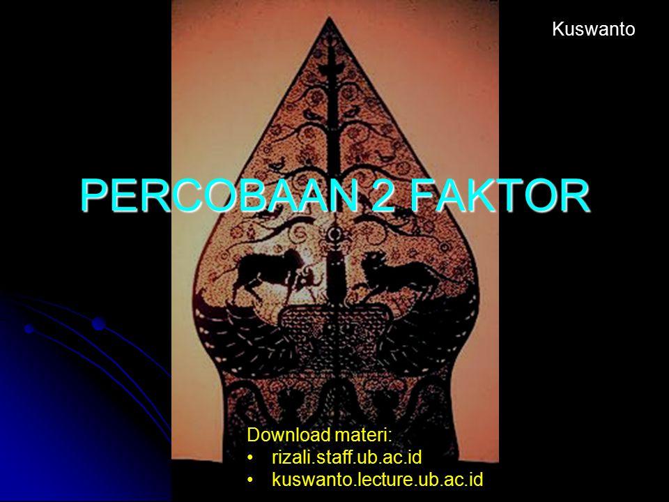 PERCOBAAN 2 FAKTOR Kuswanto Download materi: rizali.staff.ub.ac.id kuswanto.lecture.ub.ac.id