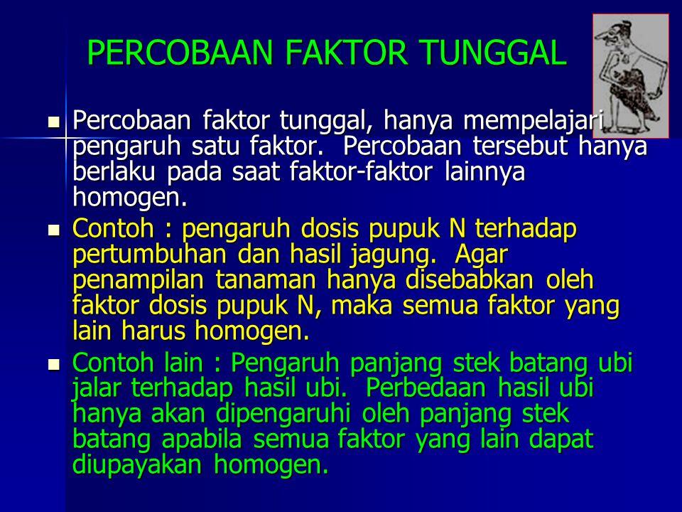 PERCOBAAN FAKTOR TUNGGAL Percobaan faktor tunggal, hanya mempelajari pengaruh satu faktor. Percobaan tersebut hanya berlaku pada saat faktor-faktor la