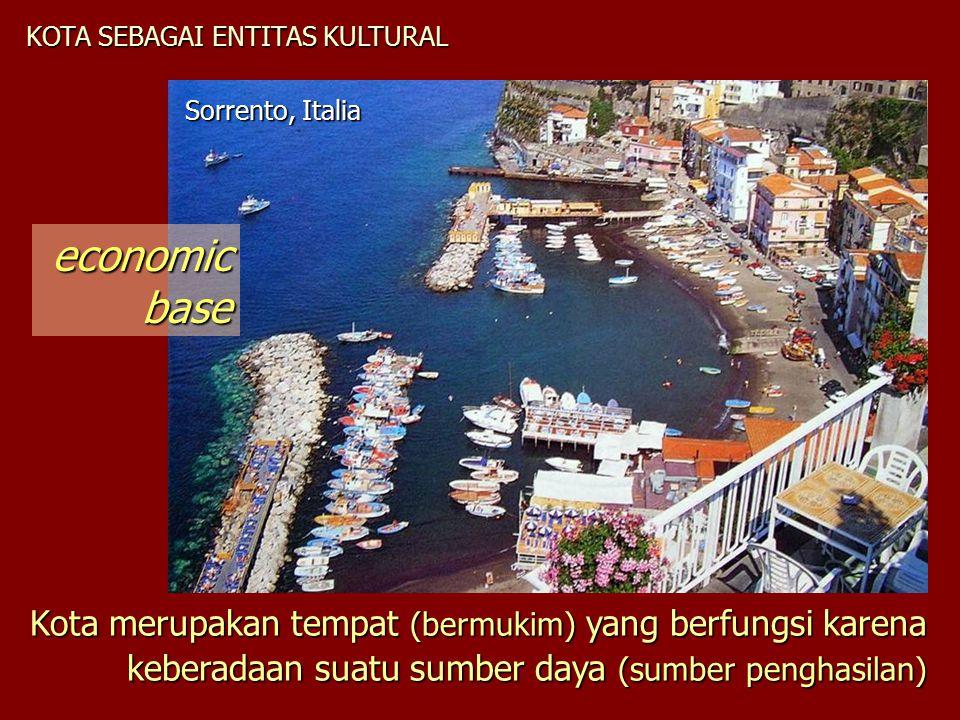 KOTA SEBAGAI ENTITAS KULTURAL Kota merupakan tempat (bermukim) yang berfungsi karena keberadaan suatu sumber daya (sumber penghasilan) Sorrento, Itali