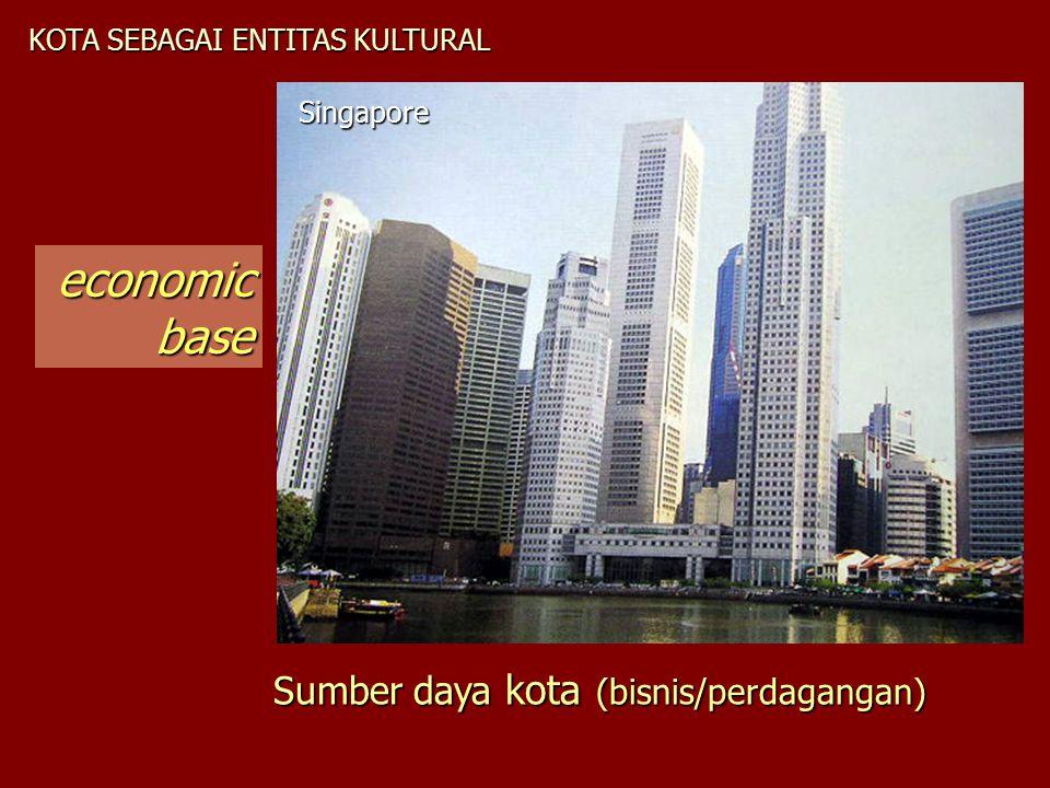 KOTA SEBAGAI ENTITAS KULTURAL Singapore economicbase Sumber daya kota (bisnis/perdagangan)