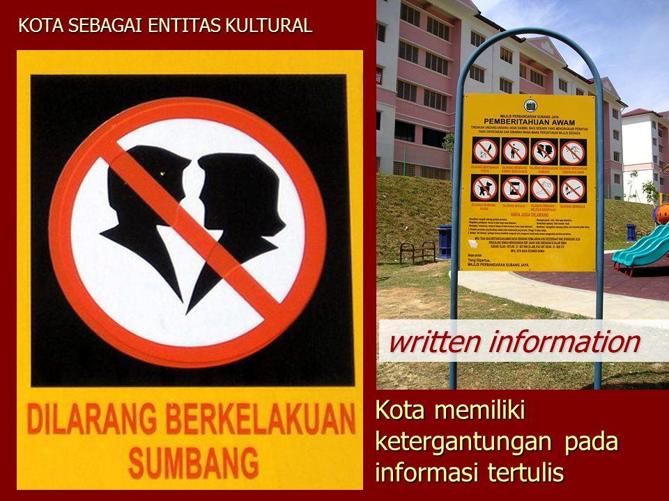 KOTA SEBAGAI ENTITAS KULTURAL Kota memiliki ketergantungan pada informasi tertulis written information