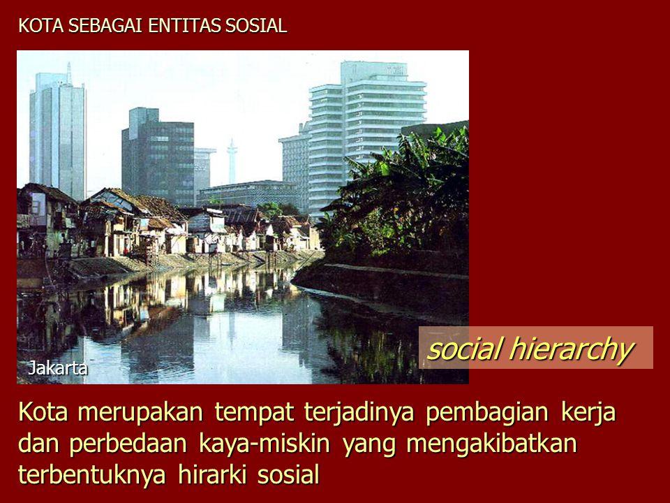 KOTA SEBAGAI ENTITAS SOSIAL Kota merupakan tempat terjadinya pembagian kerja dan perbedaan kaya-miskin yang mengakibatkan terbentuknya hirarki sosial