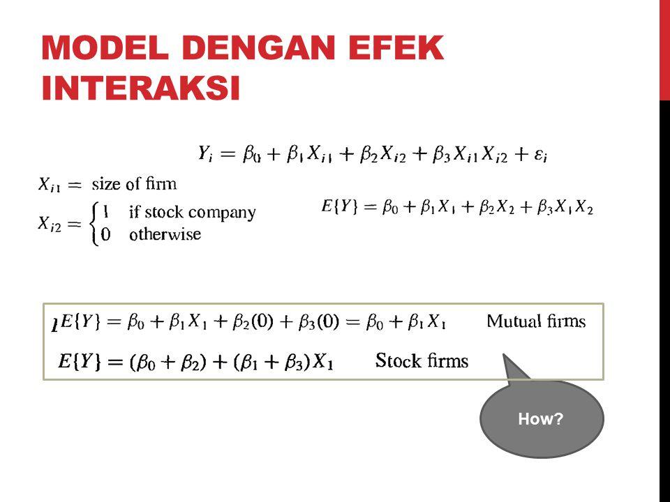 MODEL DENGAN EFEK INTERAKSI How?