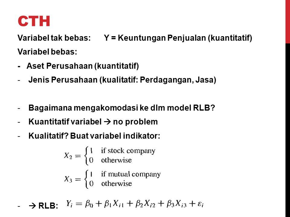 CTH Variabel tak bebas: Y = Keuntungan Penjualan (kuantitatif) Variabel bebas: - Aset Perusahaan (kuantitatif) -Jenis Perusahaan (kualitatif: Perdagan