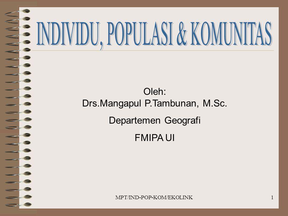 MPT/IND-POP-KOM/EKOLINK1 Oleh: Drs.Mangapul P.Tambunan, M.Sc. Departemen Geografi FMIPA UI