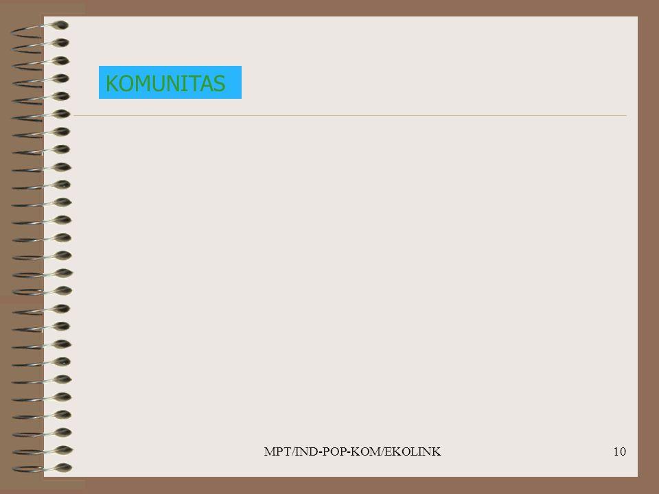 MPT/IND-POP-KOM/EKOLINK10 KOMUNITAS
