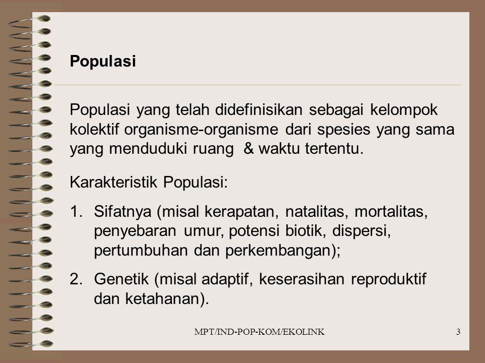 MPT/IND-POP-KOM/EKOLINK3 Populasi Populasi yang telah didefinisikan sebagai kelompok kolektif organisme-organisme dari spesies yang sama yang menduduki ruang & waktu tertentu.