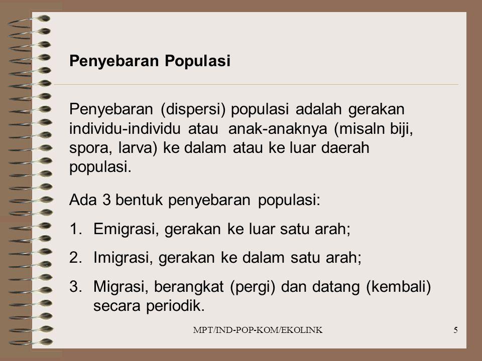 MPT/IND-POP-KOM/EKOLINK5 Penyebaran Populasi Penyebaran (dispersi) populasi adalah gerakan individu-individu atau anak-anaknya (misaln biji, spora, larva) ke dalam atau ke luar daerah populasi.