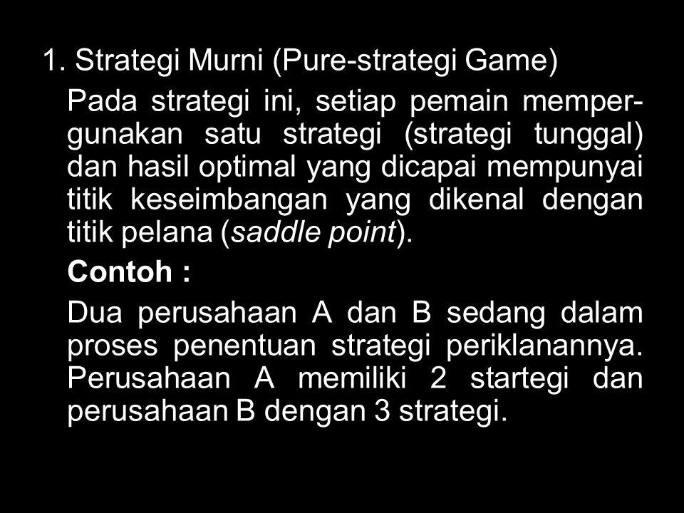 1. Strategi Murni (Pure-strategi Game) Pada strategi ini, setiap pemain memper- gunakan satu strategi (strategi tunggal) dan hasil optimal yang dicapa