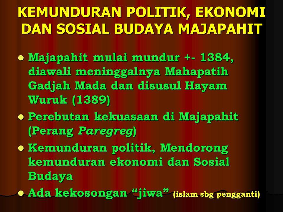 KEMUNDURAN POLITIK, EKONOMI DAN SOSIAL BUDAYA MAJAPAHIT Majapahit mulai mundur +- 1384, diawali meninggalnya Mahapatih Gadjah Mada dan disusul Hayam W