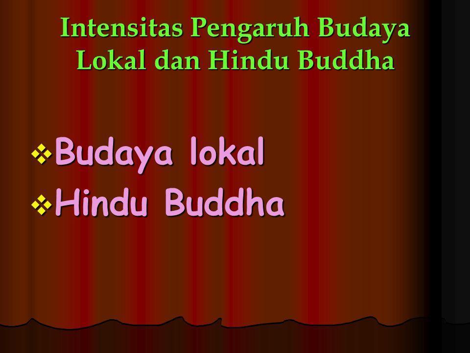 Intensitas Pengaruh Budaya Lokal dan Hindu Buddha  Budaya lokal  Hindu Buddha