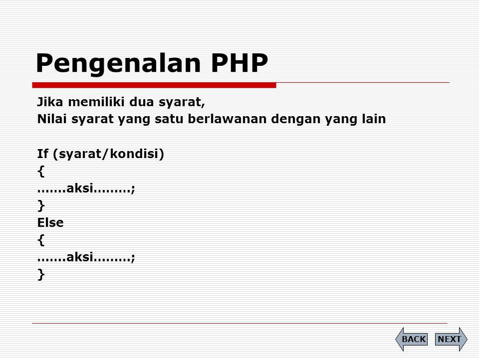 Jika memiliki dua syarat, Nilai syarat yang satu berlawanan dengan yang lain If (syarat/kondisi) { …….aksi………; } Else { …….aksi………; } Pengenalan PHP NEXTBACK