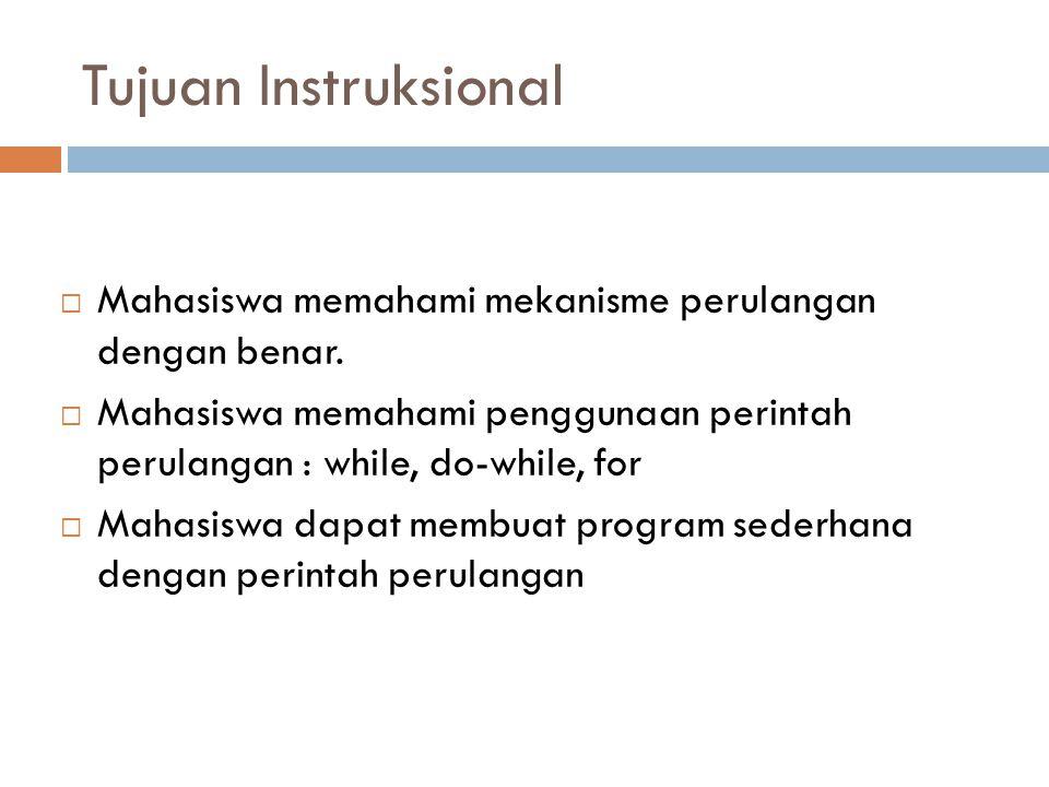 Tujuan Instruksional  Mahasiswa memahami mekanisme perulangan dengan benar.  Mahasiswa memahami penggunaan perintah perulangan : while, do-while, fo