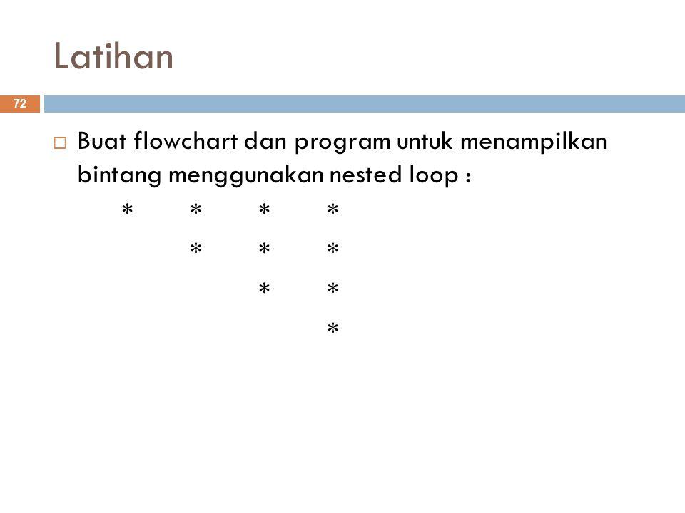 Latihan  Buat flowchart dan program untuk menampilkan bintang menggunakan nested loop : **** **** * 72