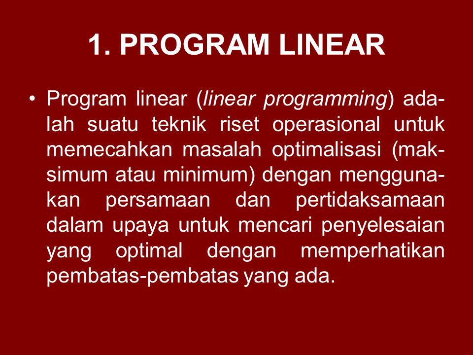 1. PROGRAM LINEAR Program linear (linear programming) ada- lah suatu teknik riset operasional untuk memecahkan masalah optimalisasi (mak- simum atau m