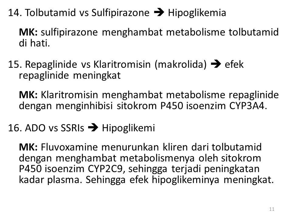 14. Tolbutamid vs Sulfipirazone  Hipoglikemia MK: sulfipirazone menghambat metabolisme tolbutamid di hati. 15. Repaglinide vs Klaritromisin (makrolid