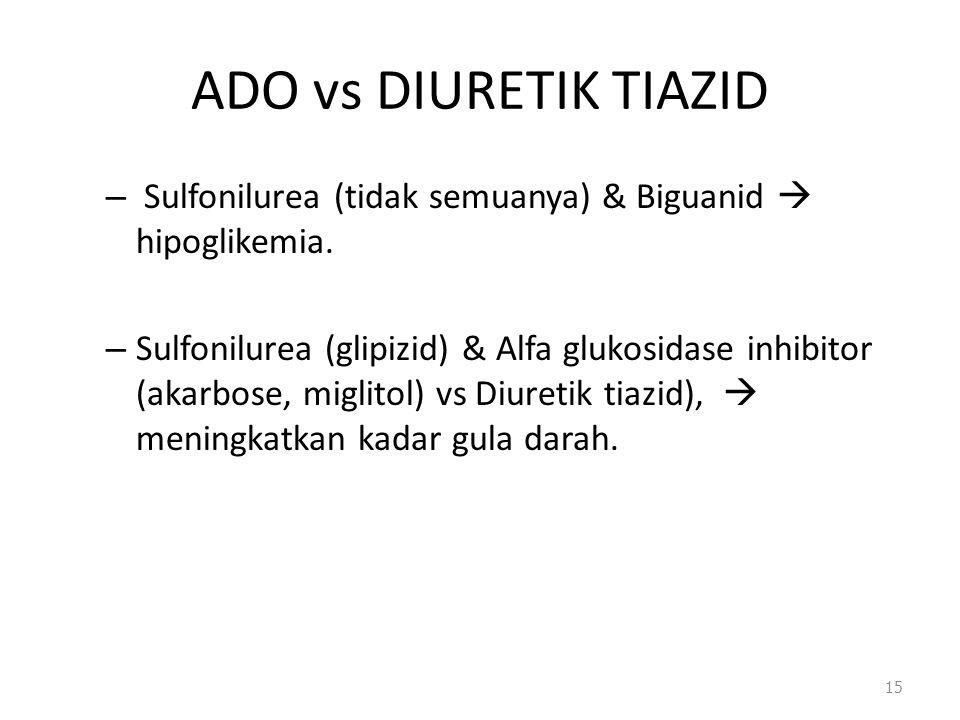 ADO vs DIURETIK TIAZID – Sulfonilurea (tidak semuanya) & Biguanid  hipoglikemia. – Sulfonilurea (glipizid) & Alfa glukosidase inhibitor (akarbose, mi