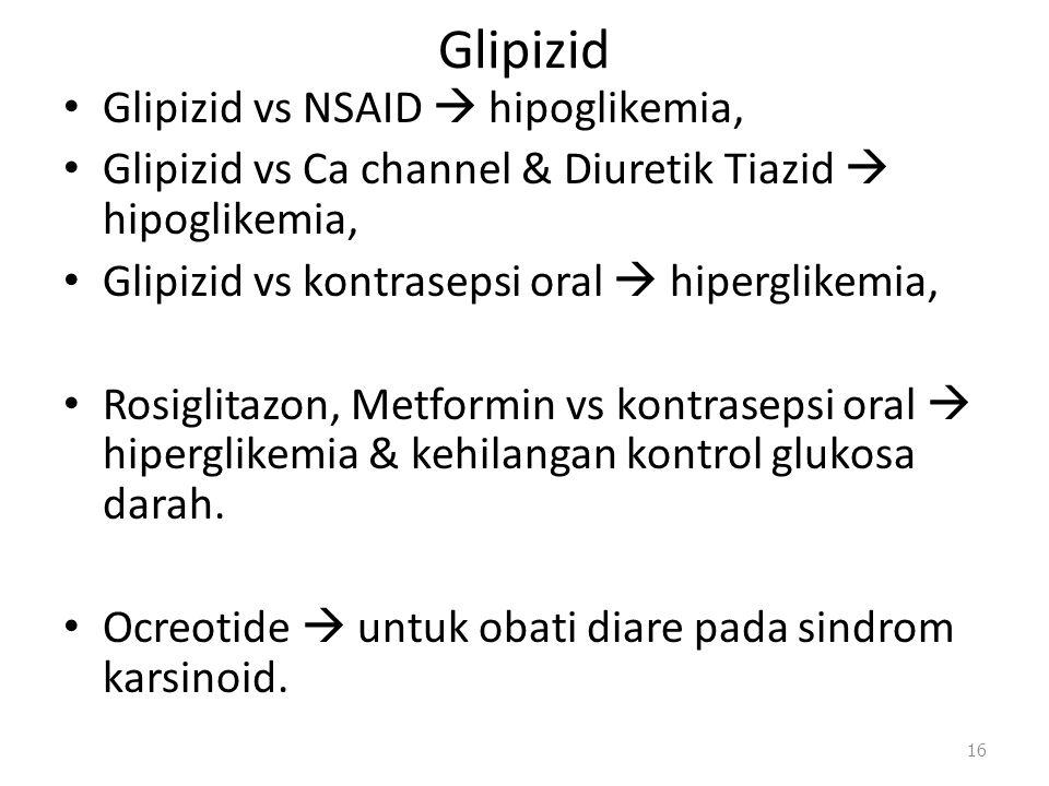 Glipizid Glipizid vs NSAID  hipoglikemia, Glipizid vs Ca channel & Diuretik Tiazid  hipoglikemia, Glipizid vs kontrasepsi oral  hiperglikemia, Rosi