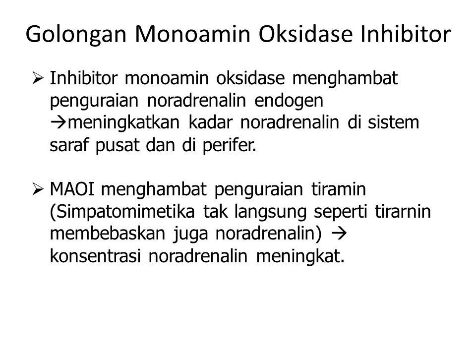 Golongan Monoamin Oksidase Inhibitor  Inhibitor monoamin oksidase menghambat penguraian noradrenalin endogen  meningkatkan kadar noradrenalin di sis