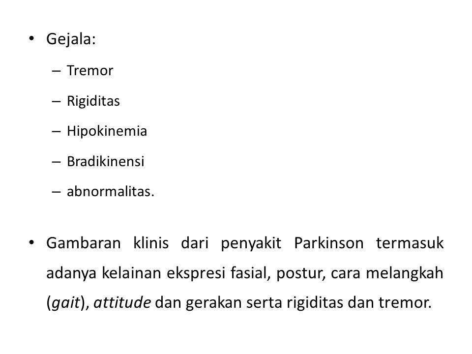 Gejala: – Tremor – Rigiditas – Hipokinemia – Bradikinensi – abnormalitas. Gambaran klinis dari penyakit Parkinson termasuk adanya kelainan ekspresi fa
