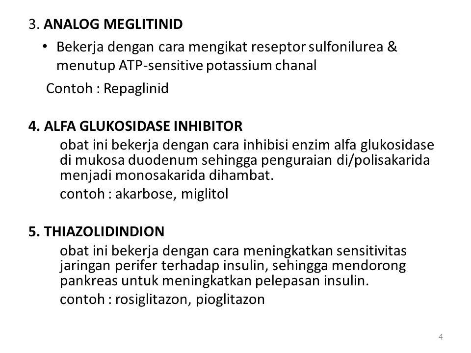 3. ANALOG MEGLITINID Bekerja dengan cara mengikat reseptor sulfonilurea & menutup ATP-sensitive potassium chanal Contoh : Repaglinid 4. ALFA GLUKOSIDA