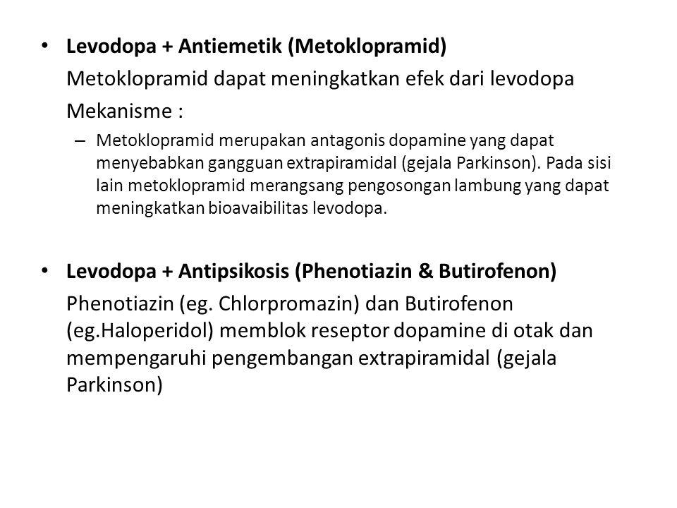 Levodopa + Antiemetik (Metoklopramid) Metoklopramid dapat meningkatkan efek dari levodopa Mekanisme : – Metoklopramid merupakan antagonis dopamine yan