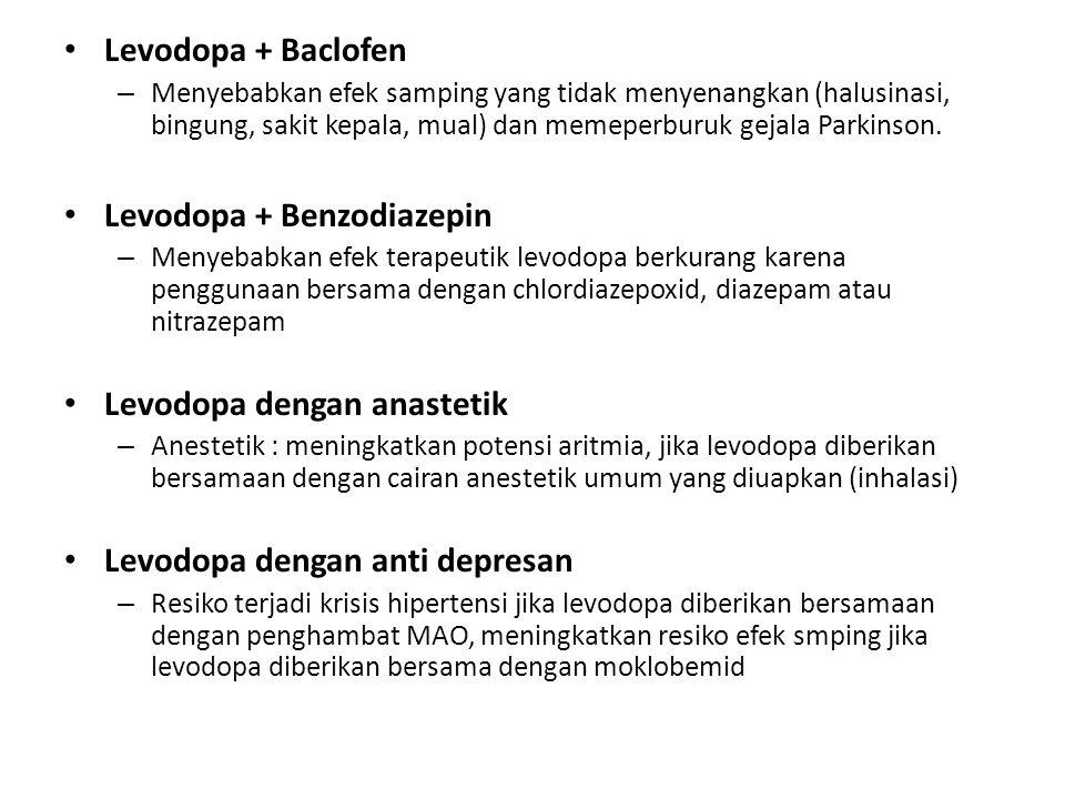 Levodopa + Baclofen – Menyebabkan efek samping yang tidak menyenangkan (halusinasi, bingung, sakit kepala, mual) dan memeperburuk gejala Parkinson. Le