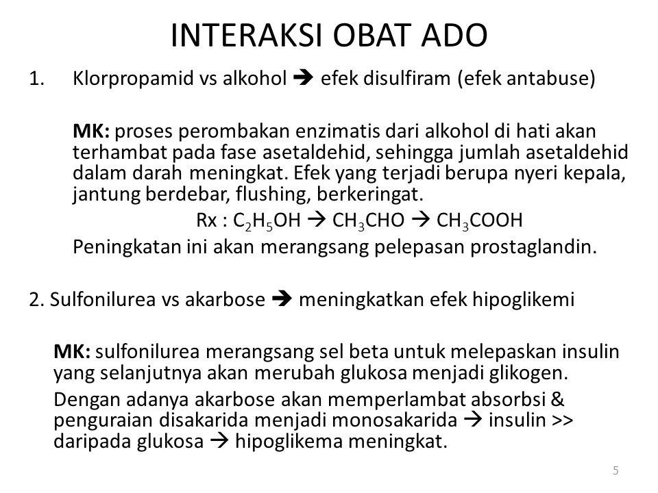 INTERAKSI OBAT ADO 1.Klorpropamid vs alkohol  efek disulfiram (efek antabuse) MK: proses perombakan enzimatis dari alkohol di hati akan terhambat pad