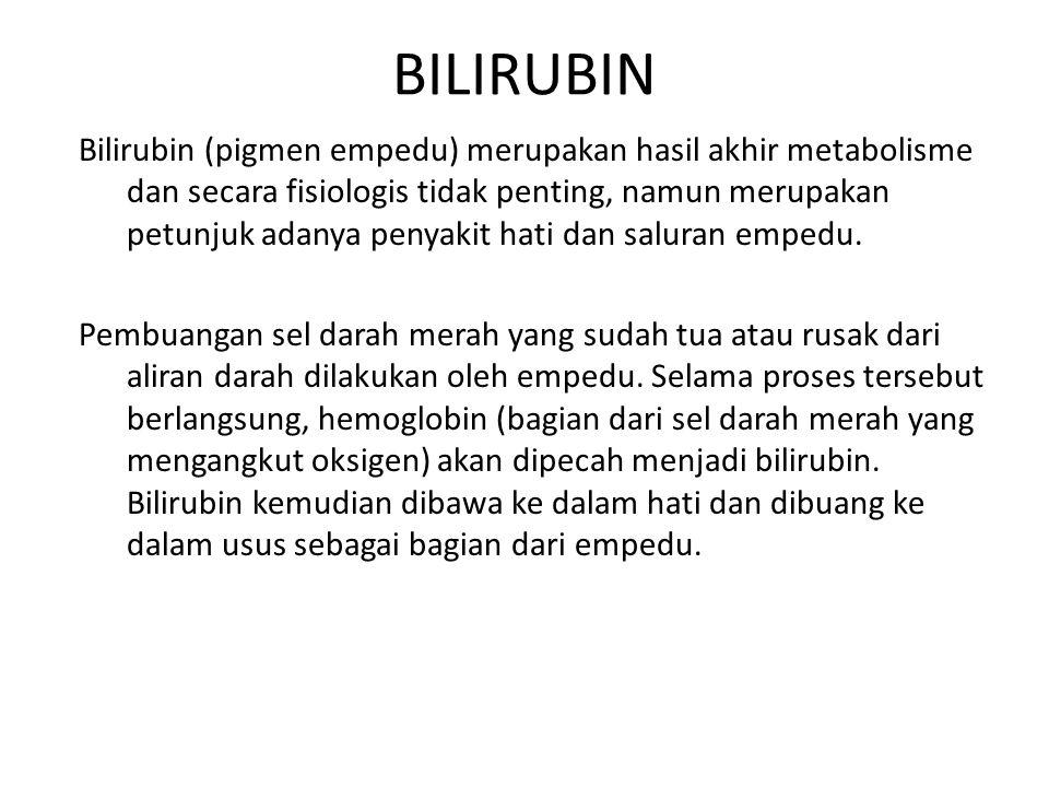 Bilirubin (pigmen empedu) merupakan hasil akhir metabolisme dan secara fisiologis tidak penting, namun merupakan petunjuk adanya penyakit hati dan sal