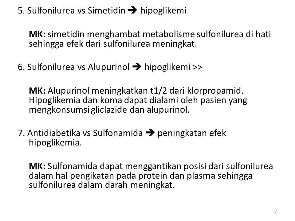 5. Sulfonilurea vs Simetidin  hipoglikemi MK: simetidin menghambat metabolisme sulfonilurea di hati sehingga efek dari sulfonilurea meningkat. 6. Sul