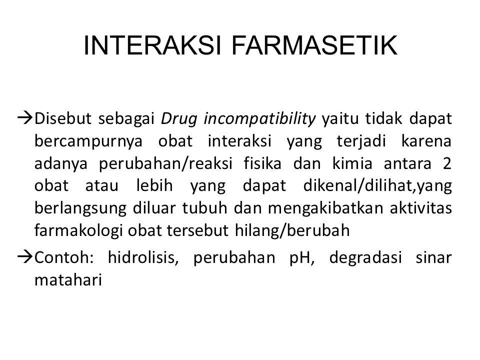 INTERAKSI FARMASETIK  Disebut sebagai Drug incompatibility yaitu tidak dapat bercampurnya obat interaksi yang terjadi karena adanya perubahan/reaksi