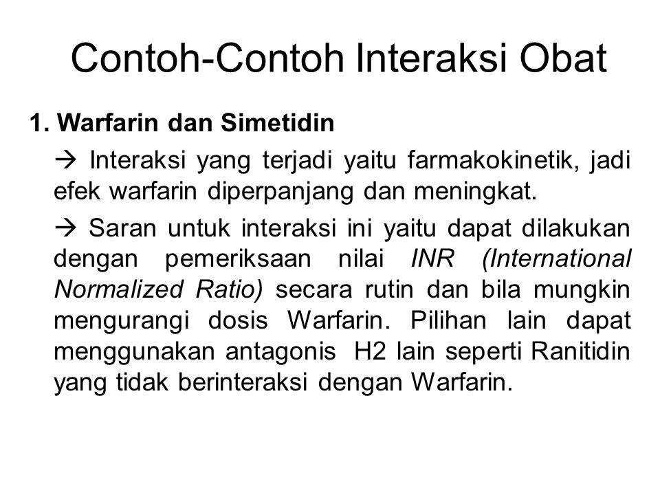 Contoh-Contoh Interaksi Obat 1. Warfarin dan Simetidin  Interaksi yang terjadi yaitu farmakokinetik, jadi efek warfarin diperpanjang dan meningkat. 