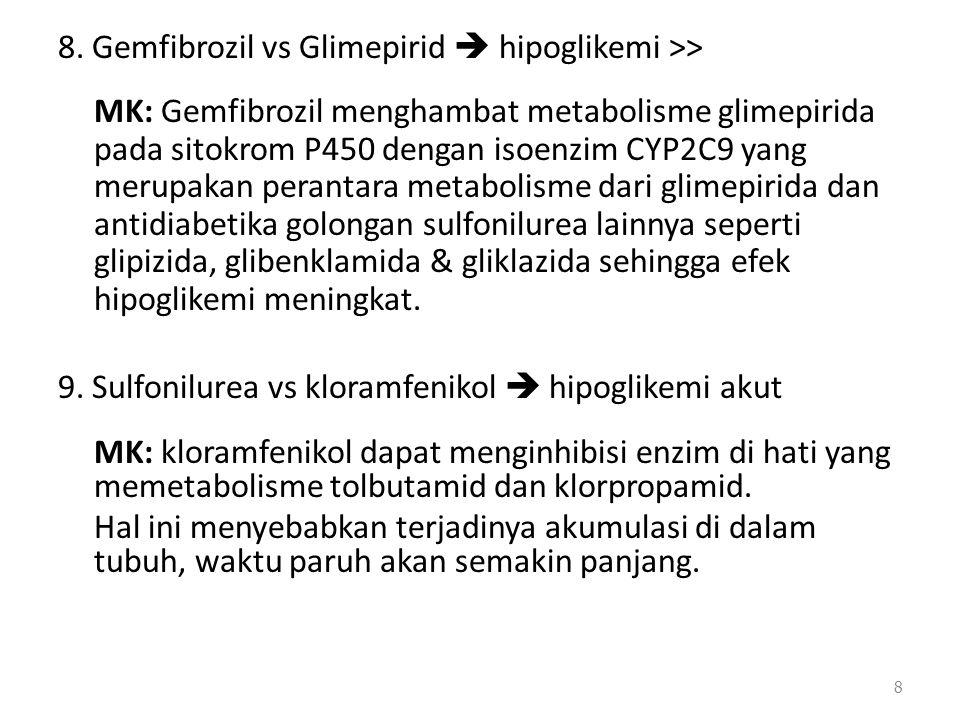 8. Gemfibrozil vs Glimepirid  hipoglikemi >> MK: Gemfibrozil menghambat metabolisme glimepirida pada sitokrom P450 dengan isoenzim CYP2C9 yang merupa