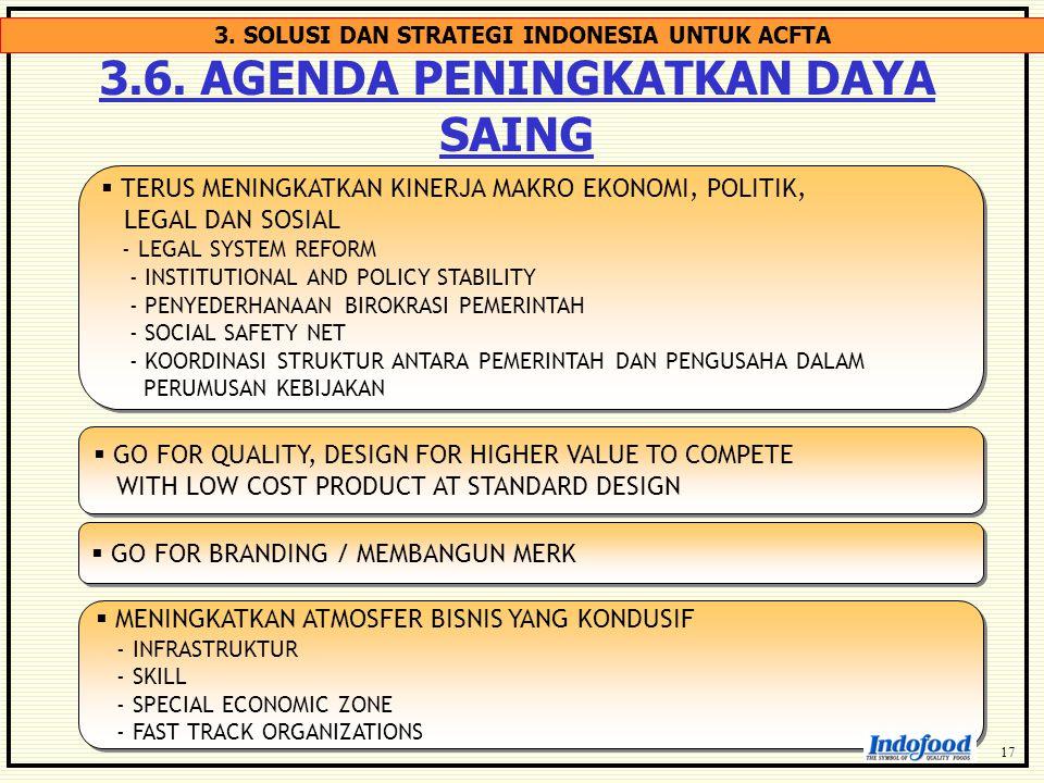 3.6. AGENDA PENINGKATKAN DAYA SAING  TERUS MENINGKATKAN KINERJA MAKRO EKONOMI, POLITIK, LEGAL DAN SOSIAL - LEGAL SYSTEM REFORM - INSTITUTIONAL AND PO