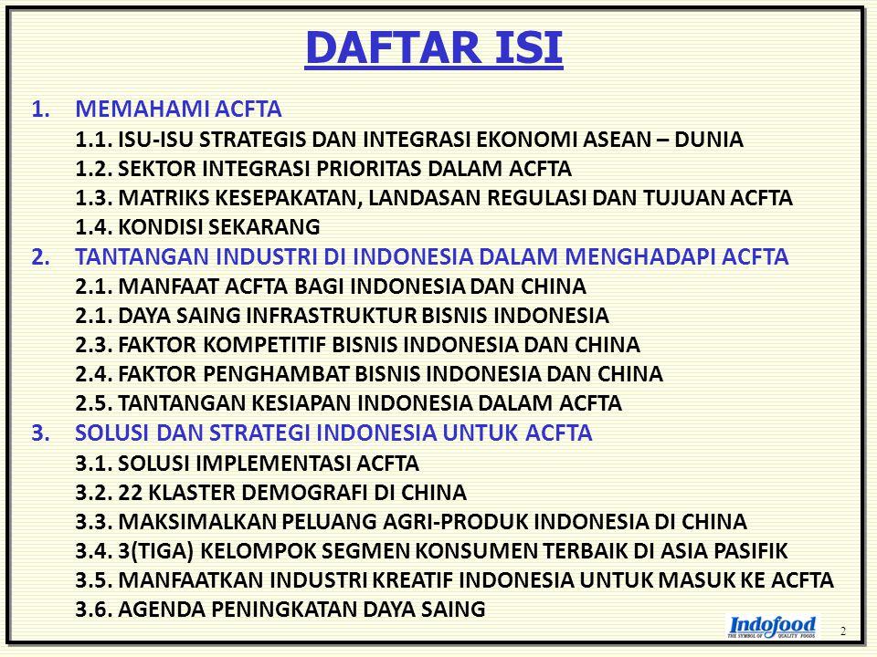 DAFTAR ISI 2 1.MEMAHAMI ACFTA 1.1. ISU-ISU STRATEGIS DAN INTEGRASI EKONOMI ASEAN – DUNIA 1.2. SEKTOR INTEGRASI PRIORITAS DALAM ACFTA 1.3. MATRIKS KESE