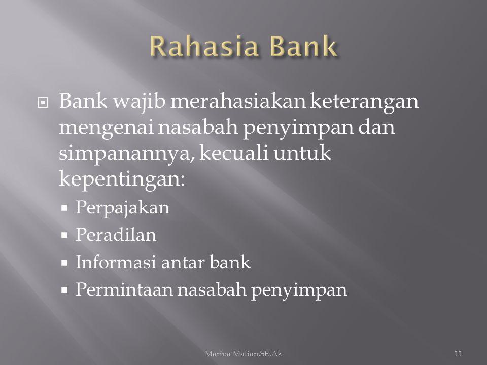  Bank wajib merahasiakan keterangan mengenai nasabah penyimpan dan simpanannya, kecuali untuk kepentingan:  Perpajakan  Peradilan  Informasi antar bank  Permintaan nasabah penyimpan Marina Malian,SE,Ak11