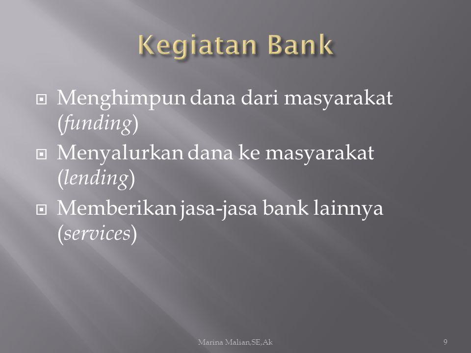  Menghimpun dana dari masyarakat ( funding )  Menyalurkan dana ke masyarakat ( lending )  Memberikan jasa-jasa bank lainnya ( services ) Marina Mal