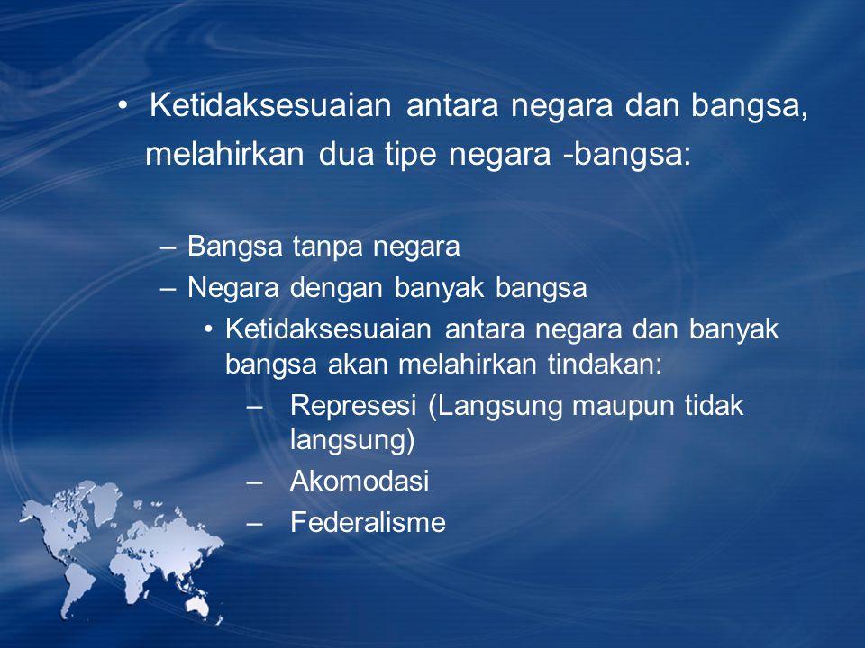 Ketidaksesuaian antara negara dan bangsa, melahirkan dua tipe negara -bangsa: –Bangsa tanpa negara –Negara dengan banyak bangsa Ketidaksesuaian antara