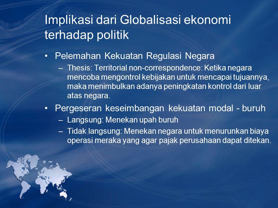 Implikasi dari Globalisasi ekonomi terhadap politik Pelemahan Kekuatan Regulasi Negara –Thesis: Territorial non-correspondence: Ketika negara mencoba