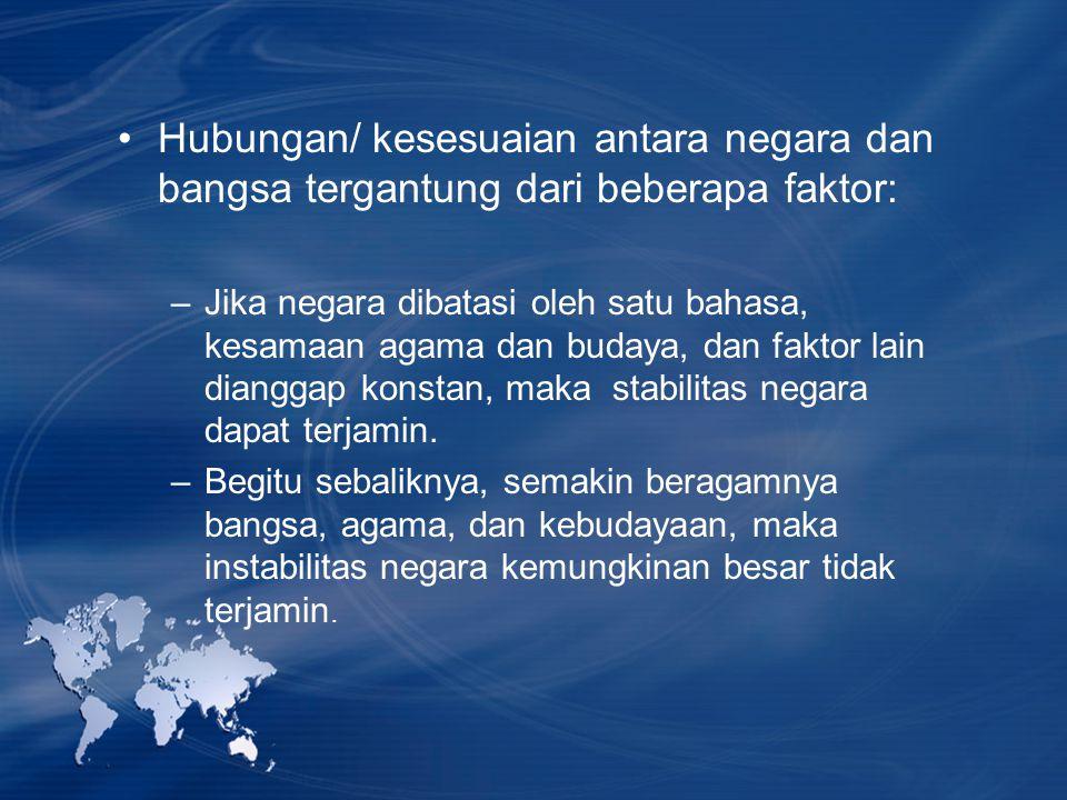 Hubungan/ kesesuaian antara negara dan bangsa tergantung dari beberapa faktor: –Jika negara dibatasi oleh satu bahasa, kesamaan agama dan budaya, dan