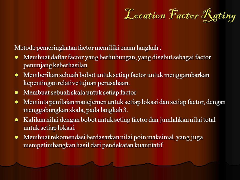 Location Factor Rating Metode pemeringkatan factor memiliki enam langkah : Membuat daftar factor yang berhubungan, yang disebut sebagai factor penunja