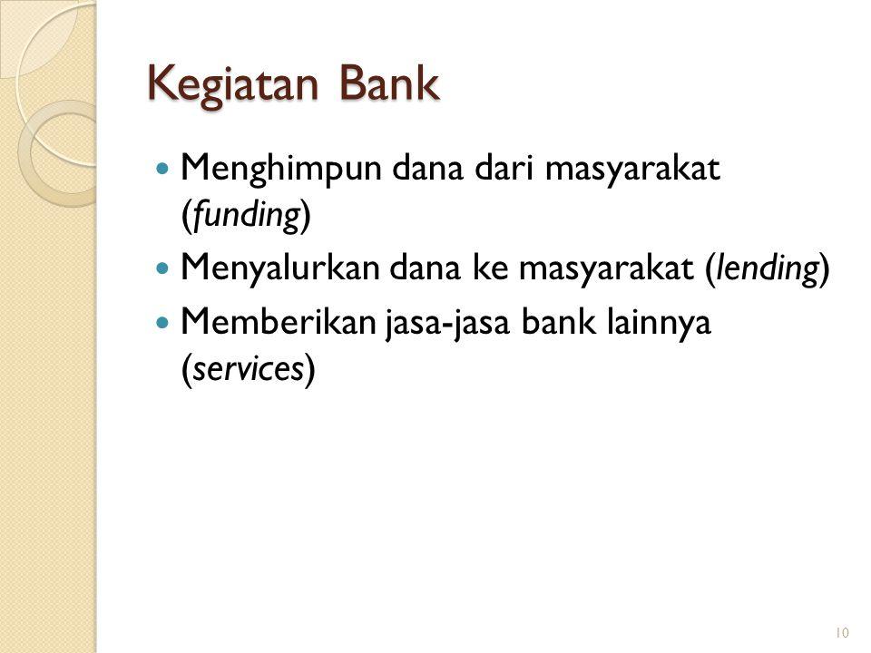Kegiatan Bank Menghimpun dana dari masyarakat (funding) Menyalurkan dana ke masyarakat (lending) Memberikan jasa-jasa bank lainnya (services) 10