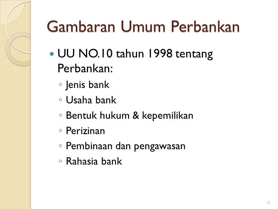 Gambaran Umum Perbankan UU NO.10 tahun 1998 tentang Perbankan: ◦ Jenis bank ◦ Usaha bank ◦ Bentuk hukum & kepemilikan ◦ Perizinan ◦ Pembinaan dan peng