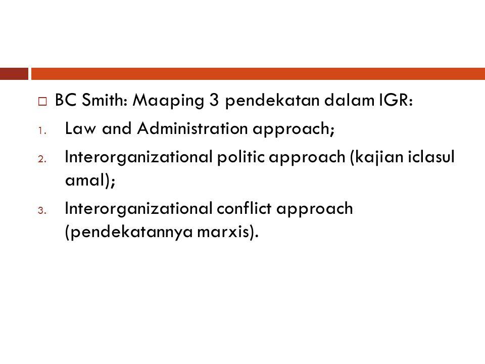  BC Smith: Maaping 3 pendekatan dalam IGR: 1. Law and Administration approach; 2. Interorganizational politic approach (kajian iclasul amal); 3. Inte