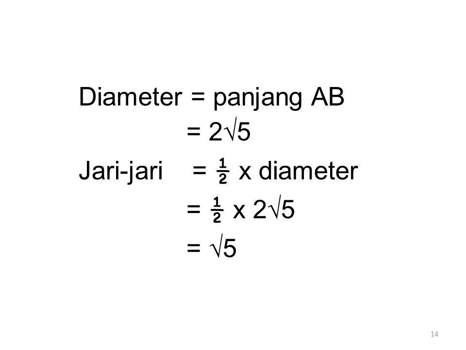 14 Diameter = panjang AB = 2√5 Jari-jari = ½ x diameter = ½ x 2√5 = √5