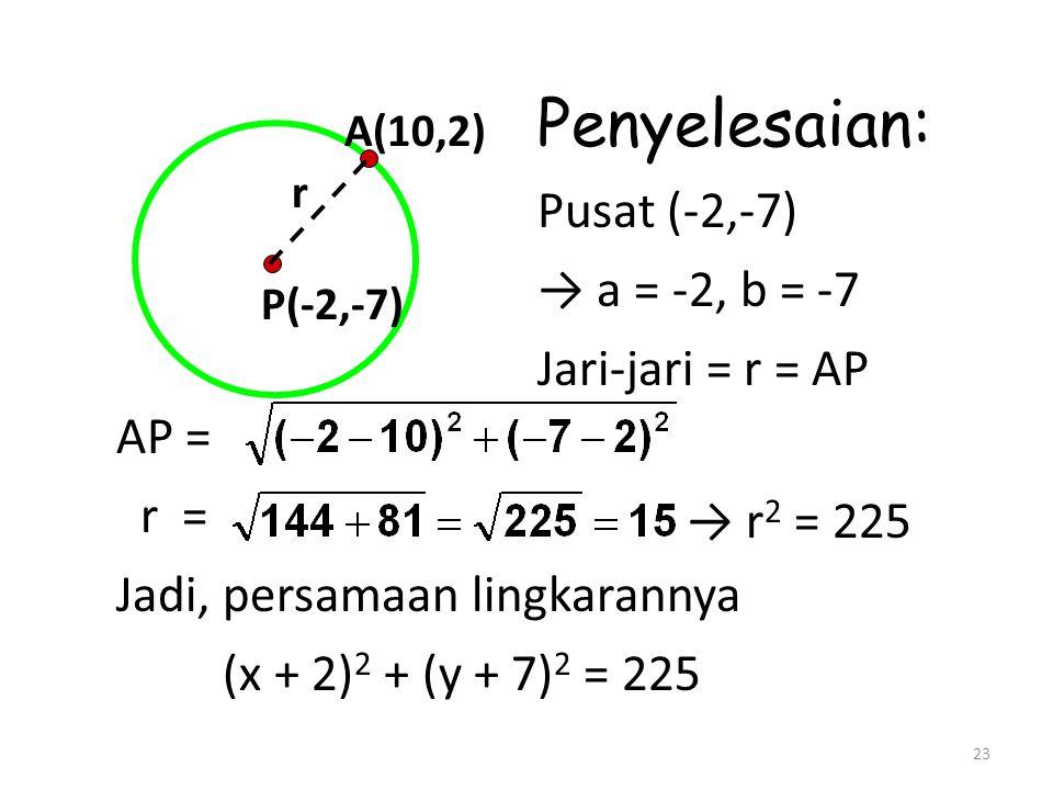 23 P(-2,-7) A(10,2) r Penyelesaian: Pusat (-2,-7) → a = -2, b = -7 Jari-jari = r = AP AP = r = Jadi, persamaan lingkarannya (x + 2) 2 + (y + 7) 2 = 225 → r 2 = 225