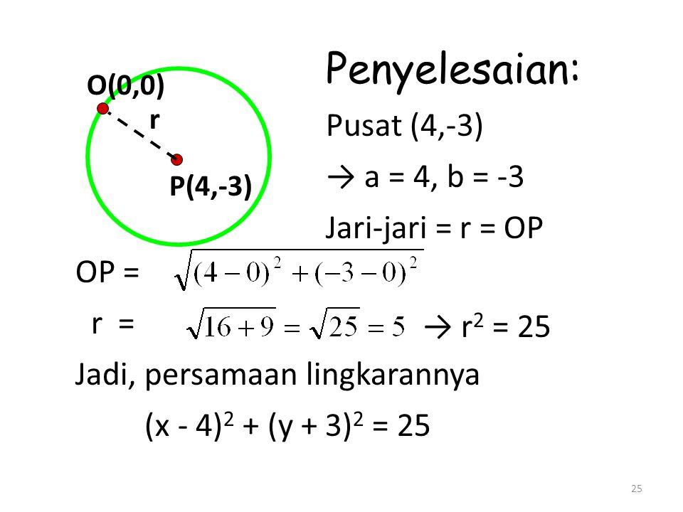 25 P(4,-3) O(0,0) r Penyelesaian: Pusat (4,-3) → a = 4, b = -3 Jari-jari = r = OP OP = r = Jadi, persamaan lingkarannya (x - 4) 2 + (y + 3) 2 = 25 → r