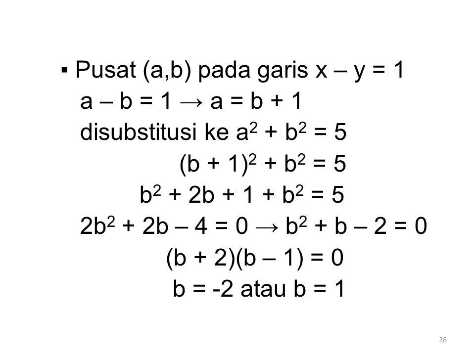 28 ▪ Pusat (a,b) pada garis x – y = 1 a – b = 1 → a = b + 1 disubstitusi ke a 2 + b 2 = 5 (b + 1) 2 + b 2 = 5 b 2 + 2b + 1 + b 2 = 5 2b 2 + 2b – 4 = 0 → b 2 + b – 2 = 0 (b + 2)(b – 1) = 0 b = -2 atau b = 1